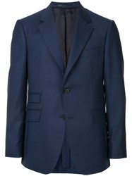 Gieves And Hawkes Straight Fit Blazer Blue