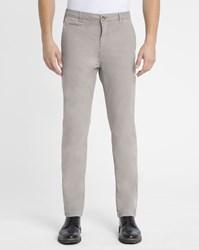 M.Studio Taupe Noa Ii Fitted Cotton Chinos Grey