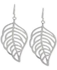 Touch Of Silver Stylised Leaf Drop Earrings In Silver Plating