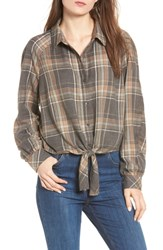 Bp. Tie Front Plaid Shirt Black Erin Plaid