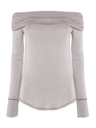 Free People Cowmo Cowl Neck Long Sleeve Top Grey