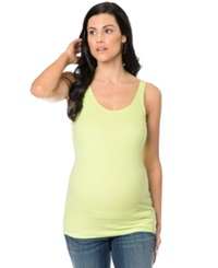 Motherhood Maternity Wide Strap Solid Ruched Tank Sharp Green