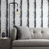 Cb2 Emmett Silver And Grey Stripe Traditional Paste Wallpaper