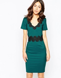 Paper Dolls Paperdolls Pencil Dress With Wiggle Lace Insert Green