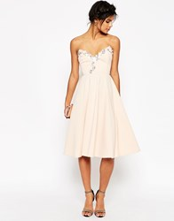 Asos Embellished Midi Skater Dress Nude Pink