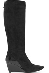 Roger Vivier Glossed Leather Paneled Suede Knee Boots Black