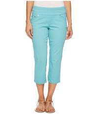 Jag Jeans Petite Peri Straight Pull On Twill Crop In Caribbean Caribbean Women's Blue