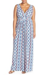 Plus Size Women's Tart 'Chloe' Print Empire Waist Jersey Maxi Dress Woodblock Stripe