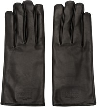 Maison Martin Margiela Black Leather Logo Gloves