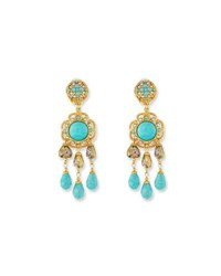 Jose And Maria Barrera Turquoise Triple Drop Clip On Earrings