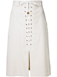 Sea Lace Up Cord Skirt White