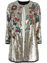 Twin Set Sequin Embellished Coat Metallic