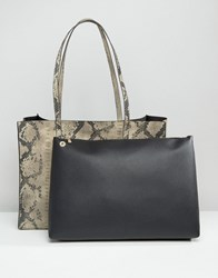 Asos Snake Structured Shopper Bag With Contrast Removable Clutch Snake Multi