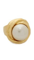 Kenneth Jay Lane Imitation Pearl Ring Pearl Gold