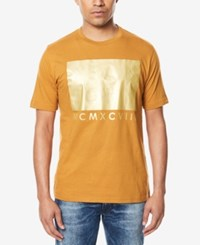 Sean John Men's Gold Block Print T Shirt Cathay Spice