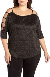 Addition Elle Love And Legend Plus Size Women's Metallic Knit Cold Shoulder Top
