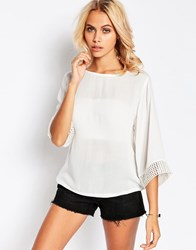 Jdy 3 4 Sleeve Boho Top With Lace Trim White