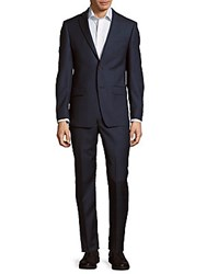 Michael Kors Solid Textured Wool Suit Blue