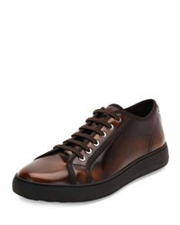 Salvatore Ferragamo Fulton Men's Burnished Leather Low Top Sneaker Brown