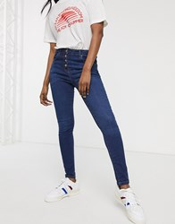 Parisian Button Up Skinny Jeans Blue
