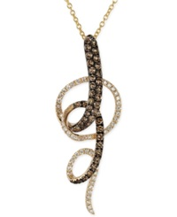 Le Vian Chocolate And White Diamond Swirl Pendant Necklace In 14K Yellow Gold 3 4 Ct. T.W.