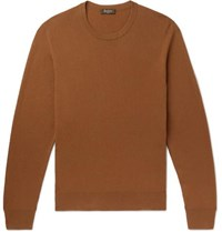 Berluti Leather Trimmed Cashmere Sweater Camel