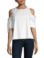 Saks Fifth Avenue Cold Shoulder Tie Sleeve Blouse White