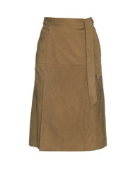 Frame Denim Le Wrap Suede Skirt Khaki
