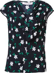 Carolina Herrera Floral Tie Neck Top Black