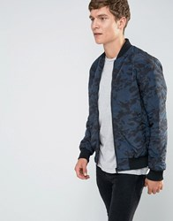 Brave Soul Quilted Camo Bomber Jacket Navy