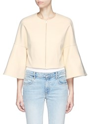 Rosetta Getty Bell Sleeve Cropped Suiting Jacket White