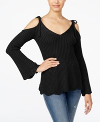 American Rag Juniors' Ribbed Cold Shoulder Sweater Only At Macy's Black