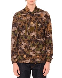 Red Valentino Camo Star Print And Embroidered Jacket Green Multi Men's