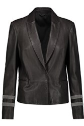 Brunello Cucinelli Embellished Leather Jacket Charcoal