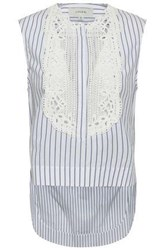 Lover Woman Guipure Lace Paneled Striped Cotton Top White