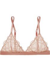 I.D. Sarrieri Satin Trimmed Embroidered Tulle Soft Cup Triangle Bra Blush