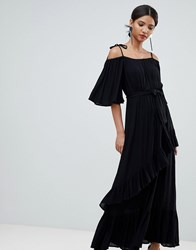 Y.A.S Cold Shoulder Maxi Dress With Ruffles Black