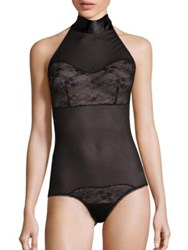 Hanky Panky After Midnight Love Tied High Neck Bodysuit Black