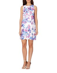 Tahari By Arthur S. Levine Floral Printed Lace Trapeze Dress White Magenta