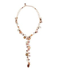 Nakamol Copper Mixed Pearl Y Drop Necklace Brown