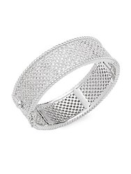 Saks Fifth Avenue Cubic Zirconia And Silver Bracelet Rhodium