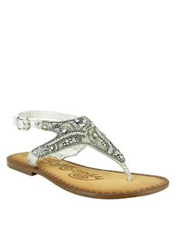 Naughty Monkey Adeley Embellished Leather Thong Sandals Silver