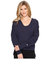 Alo Yoga Fluid Long Sleeve Top Rich Navy Heather Women's Long Sleeve Pullover