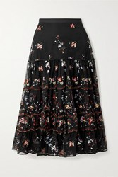 Tory Burch Crepe Trimmed Embroidered Tulle Midi Skirt Black