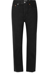 Re Done Originals High Rise Stove Pipe Straight Leg Jeans Black