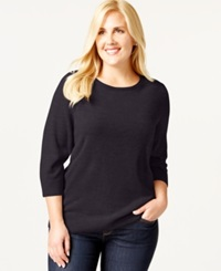 Karen Scott Plus Size Solid Crew Neck Sweater Only At Macy's Victorian Purple