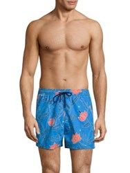 Etro Floral Printed Shorts Blue