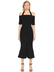 Christopher Esber Off The Shoulders Ruffle Pique Dress