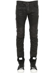 Balmain 17Cm Biker Coated Cotton Denim Jeans
