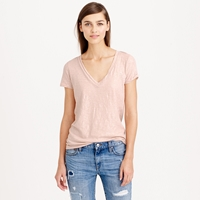 J.Crew Vintage Cotton V Neck Tee In Metallic